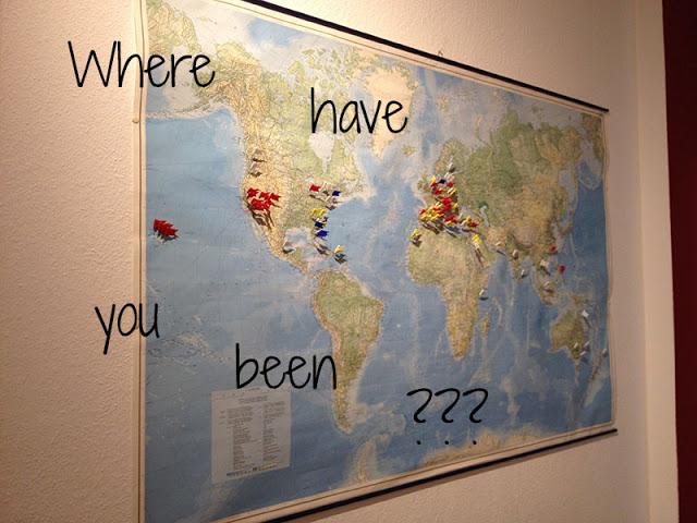 Weltkarte mit Pins