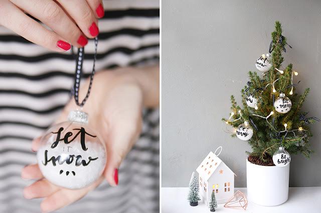 Handlettering Weihnachtskugeln
