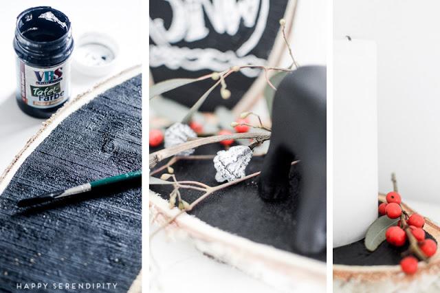 Birkenscheibe mit Tafelfarbe bemalen