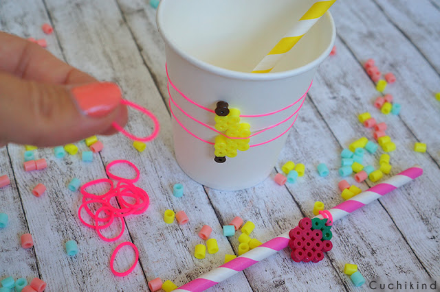 Partybecher mit Loom Bands