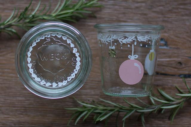 Glas mit Edding bemalen