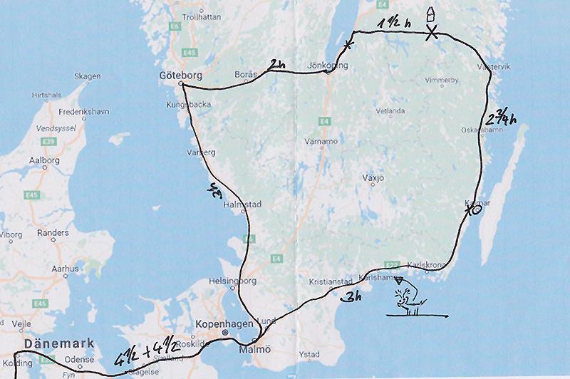 Reiseroute Schweden