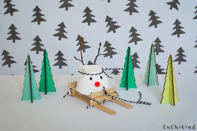 Weihnachtsbasteln Mit Kindern Rentier Und Schlitten Cuchikind